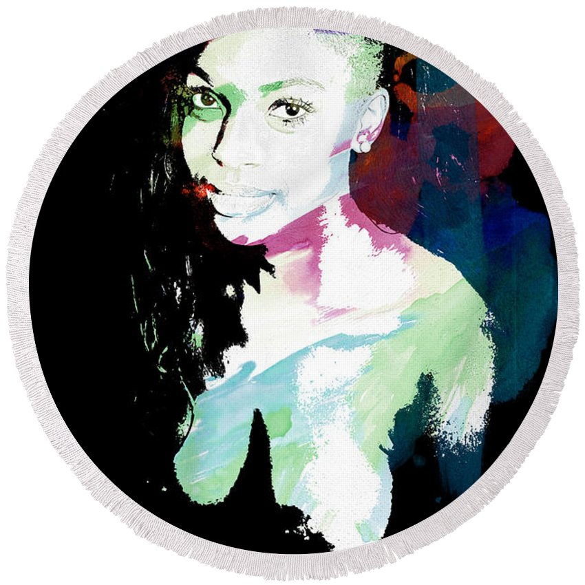 Amani Round Beach Towel featuring the painting Amani African American Nude Fine Art Painting Print 4966.03 by Kendree Miller