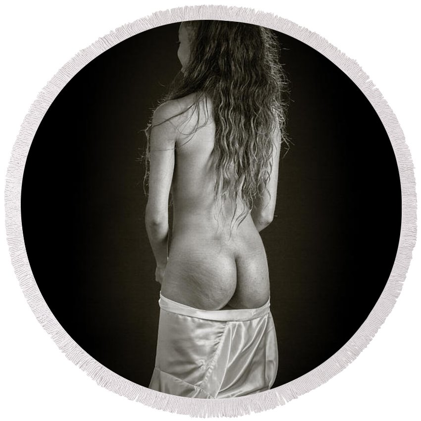 Amani Round Beach Towel featuring the photograph Amani African American Nude Sensual Sexy Fine Art Print In Sepia 4920.01 by Kendree Miller