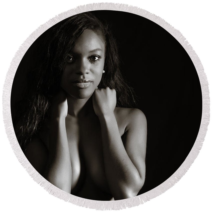 Amani Round Beach Towel featuring the photograph Amani African American Nude Sensual Sexy Fine Art Print In Sepia 4937.01 by Kendree Miller