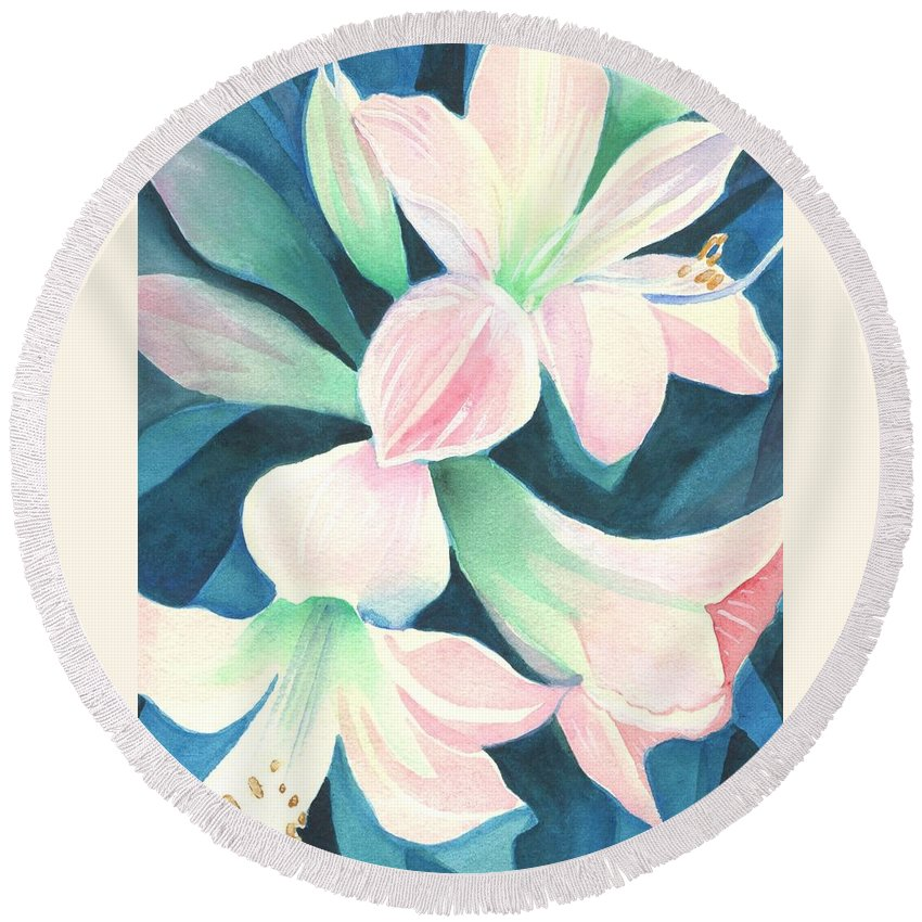 Flower Round Beach Towel featuring the painting Amaryllis by Helena Tiainen