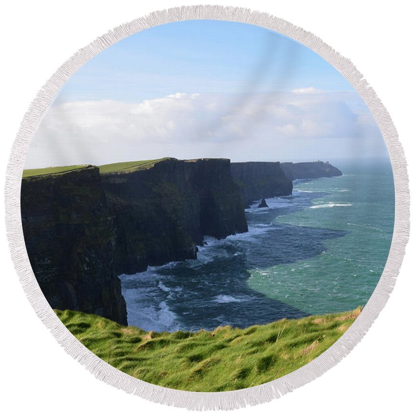 Cliffs-of-moher Round Beach Towel featuring the photograph Amazing Scenic Views Of The Cliff's Of Moher by DejaVu Designs