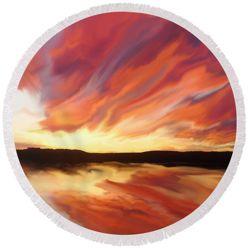 Sunset Round Beach Towel featuring the painting Amazing Sunset by Justyna JBJart