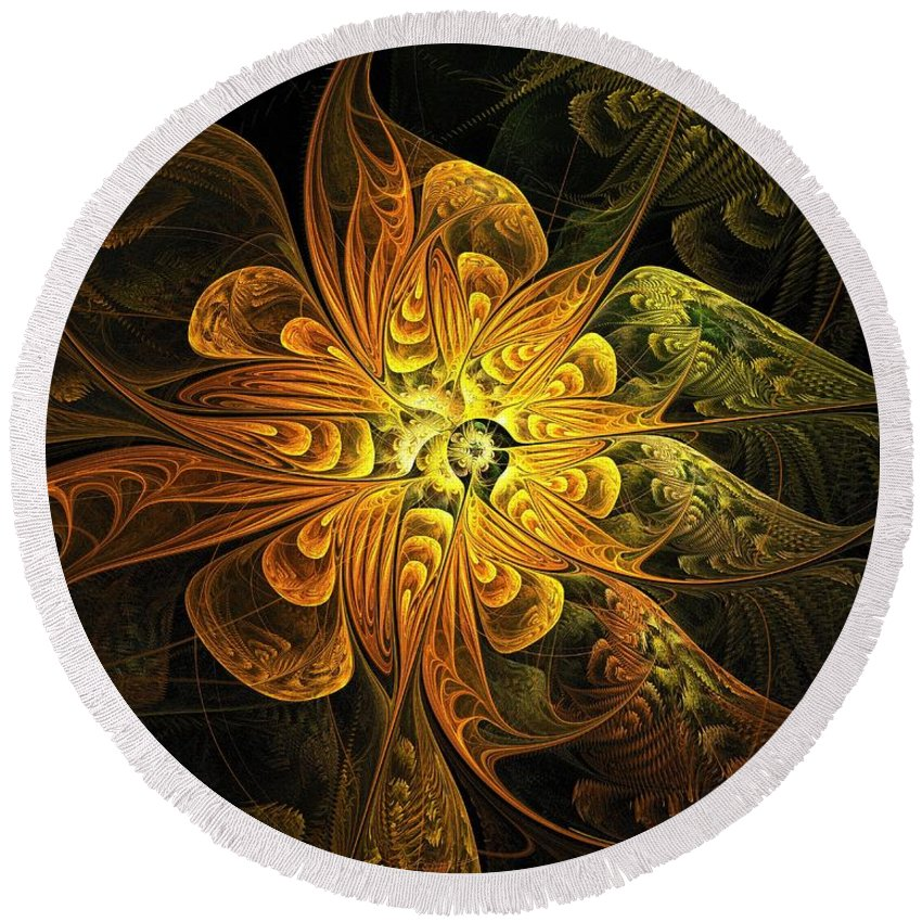 Digital Art Round Beach Towel featuring the digital art Amber Light by Amanda Moore