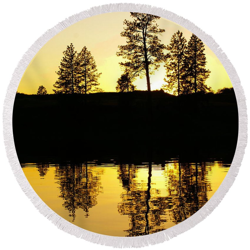 Nature Round Beach Towel featuring the photograph Amber Sunset by Ben Upham III