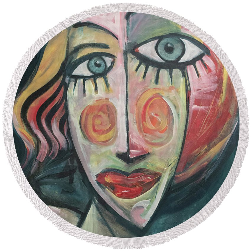 Woman Round Beach Towel featuring the painting Amber by Tim Nyberg