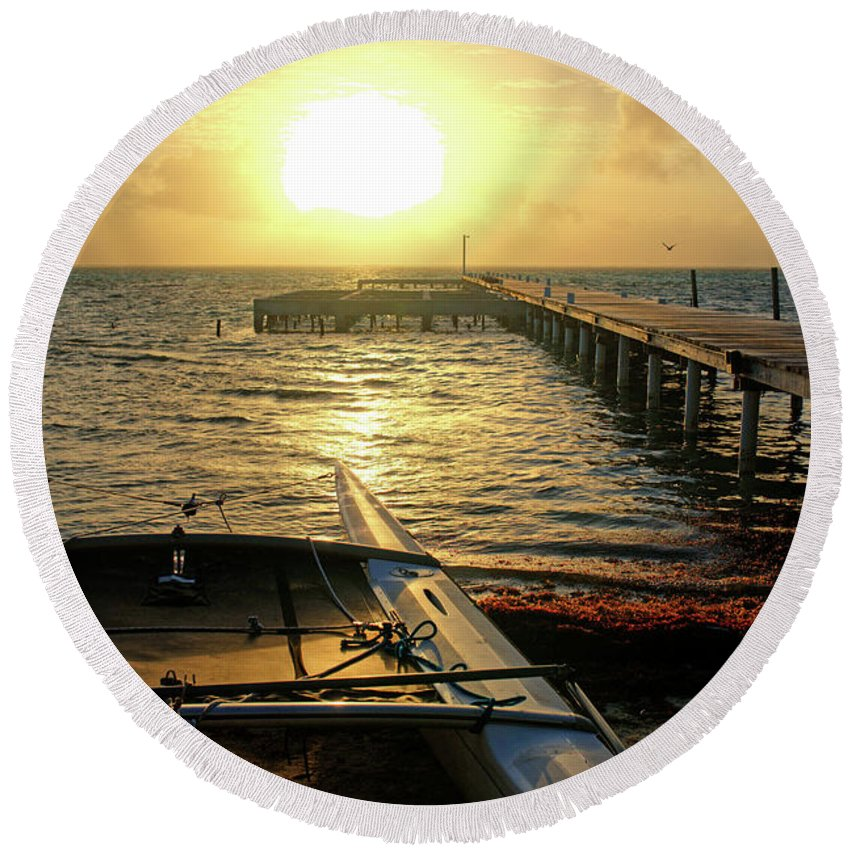 Belize Round Beach Towel featuring the photograph Ambergris Sunrise Schooner San Pedro Belize by Toby McGuire