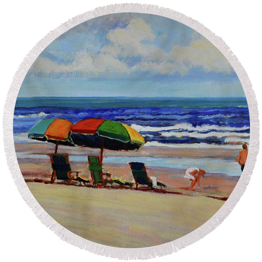 Impressionism Round Beach Towel featuring the painting Amelia Afternoon by Keith Burgess