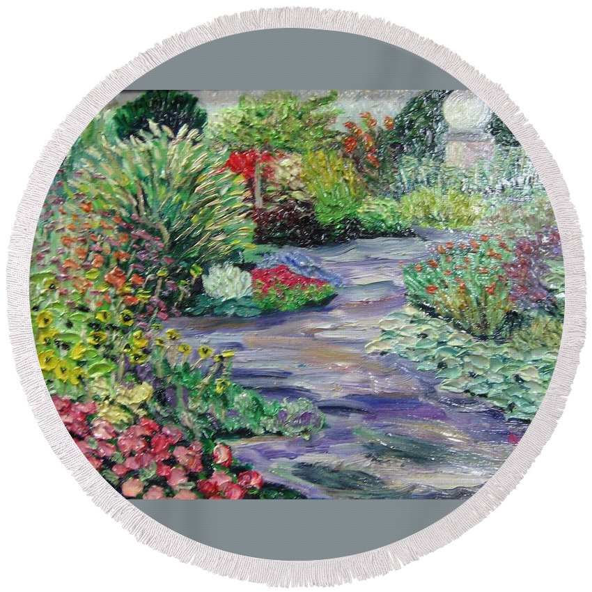 Park Round Beach Towel featuring the painting Amelia Park Blossoms by Richard Nowak