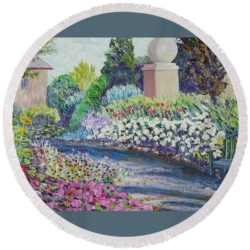 Flowers Round Beach Towel featuring the painting Amelia Park Pathway by Richard Nowak