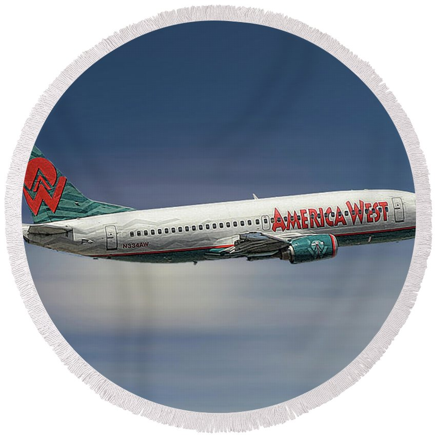America West Round Beach Towel featuring the mixed media America West Boeing 737-300 by Smart Aviation
