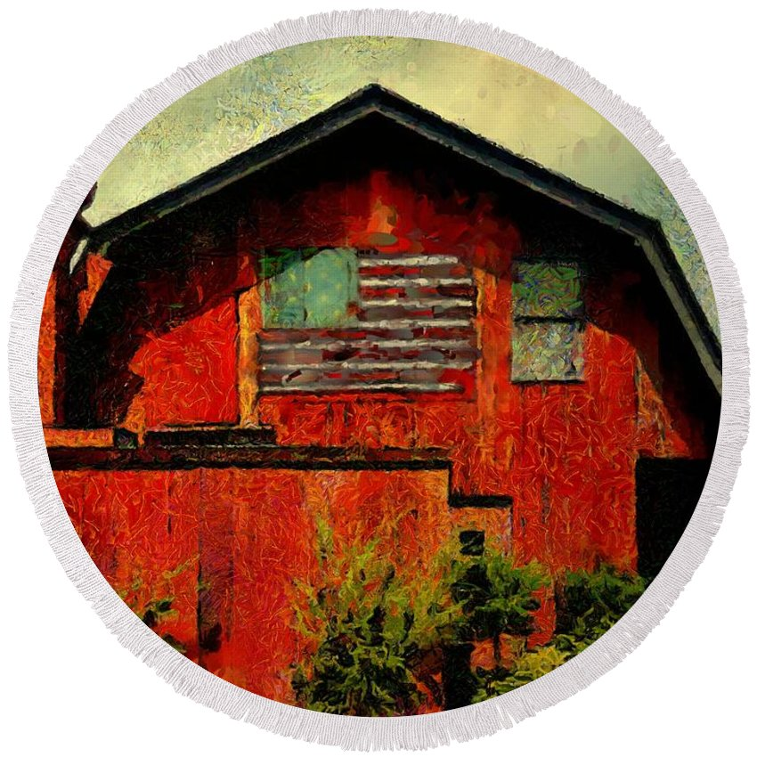 Barn Round Beach Towel featuring the painting American Barn by RC DeWinter