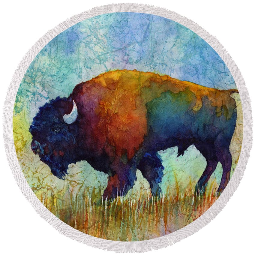 Bison Round Beach Towel featuring the painting American Buffalo 5 by Hailey E Herrera