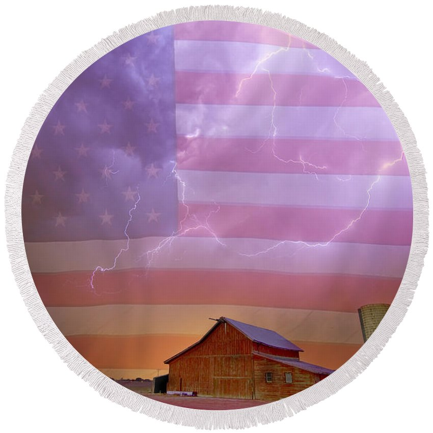 American Round Beach Towel featuring the photograph American Country Stormy Night by James BO Insogna