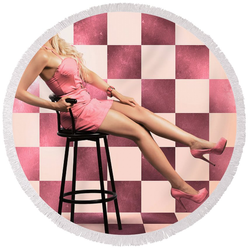 1950 Round Beach Towel featuring the photograph American Culture Pin Up Girl Inside 60s Retro Diner by Jorgo Photography - Wall Art Gallery