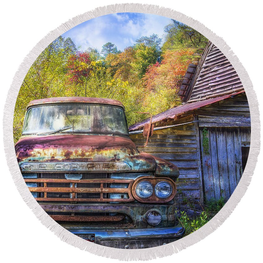American Round Beach Towel featuring the photograph American Dodge by Debra and Dave Vanderlaan