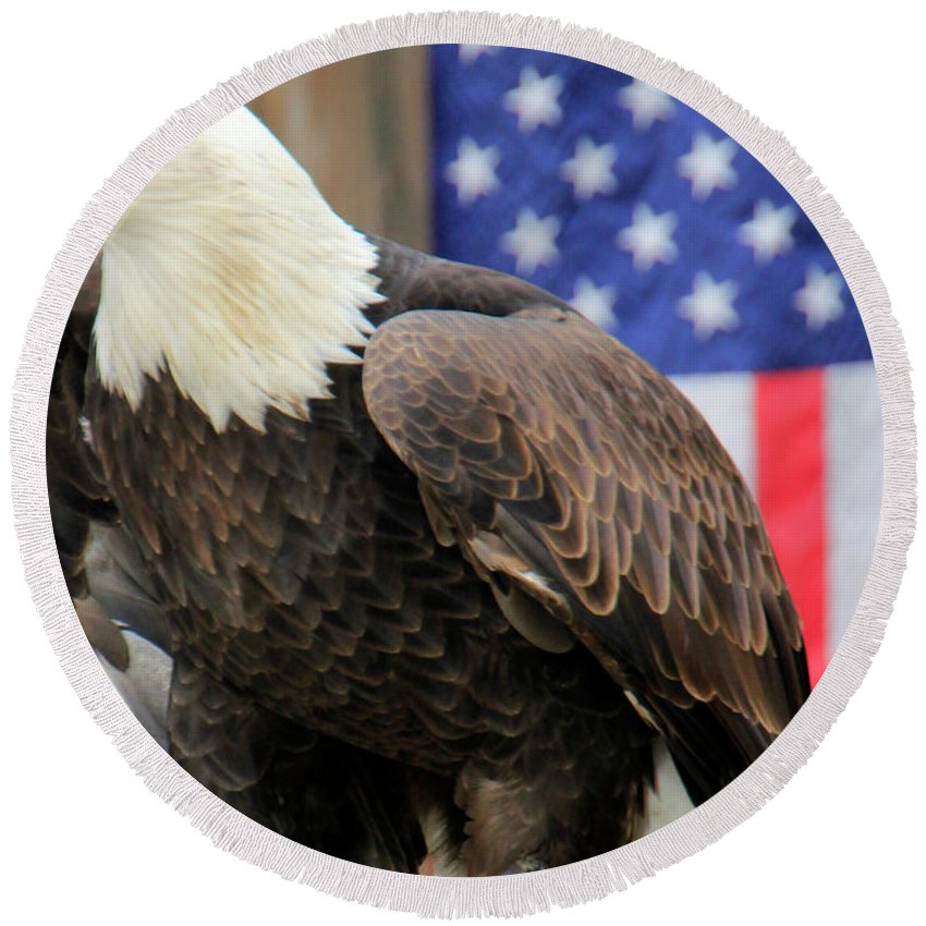 Eagle Round Beach Towel featuring the photograph American Eagle by Pauline Darrow