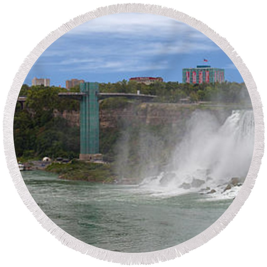 New York Round Beach Towel featuring the photograph American Falls And Rainbow Bridge by Jerry Fornarotto