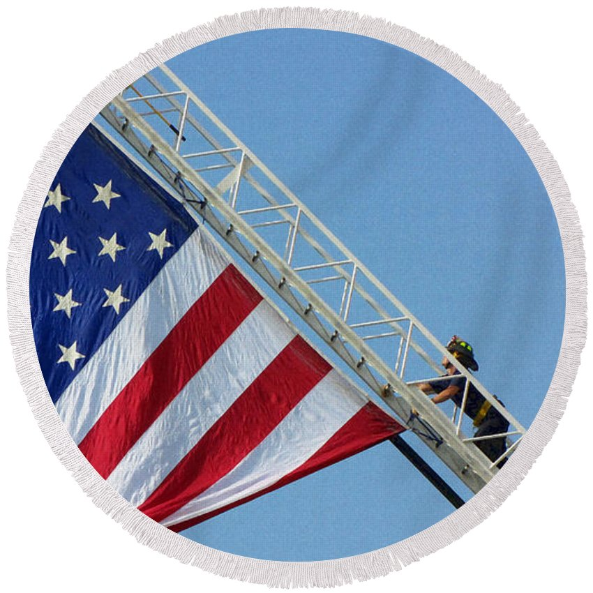 American Round Beach Towel featuring the photograph American Firefighter by Sarah Houser