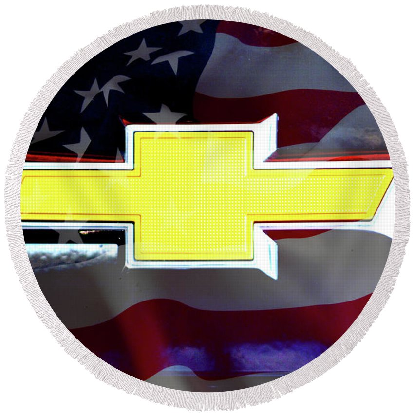 American Flag Chevy Bowtie Round Beach Towel