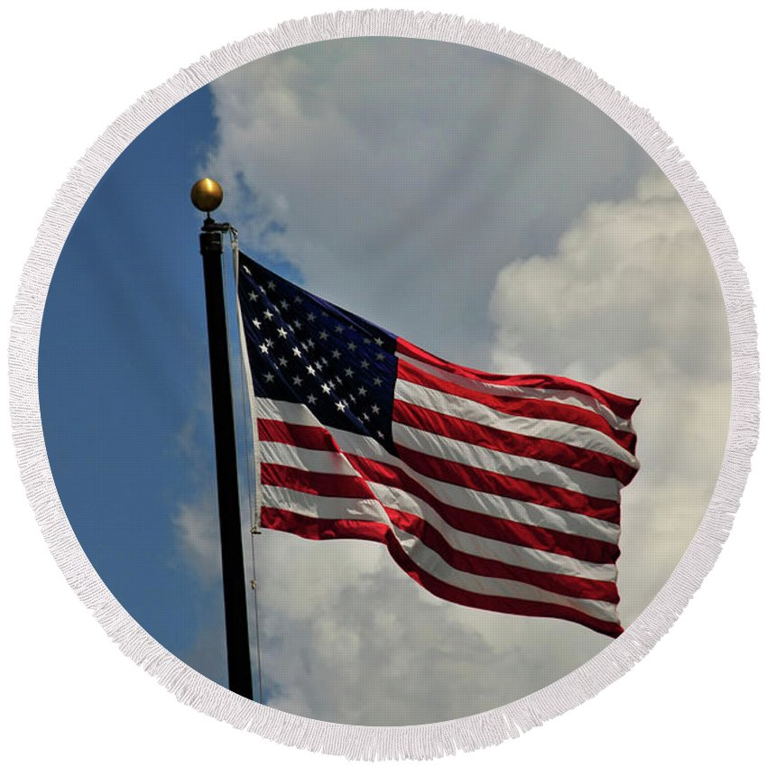 American Flag Round Beach Towel featuring the photograph American Flag by David Arment