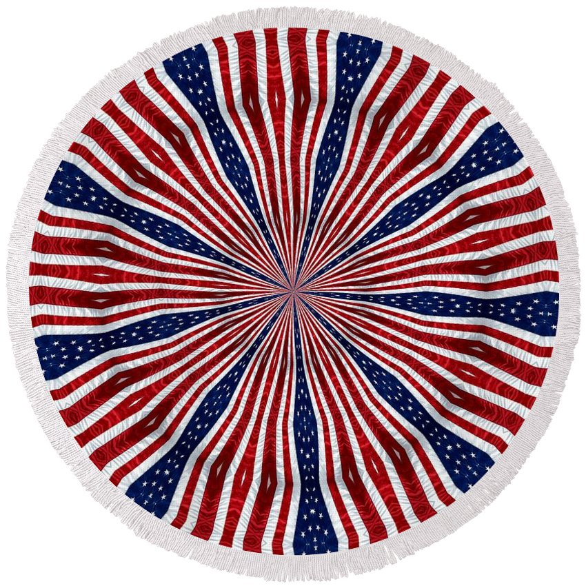 Flags Round Beach Towel featuring the photograph American Flag Kaleidoscope Abstract 6 by Rose Santuci-Sofranko