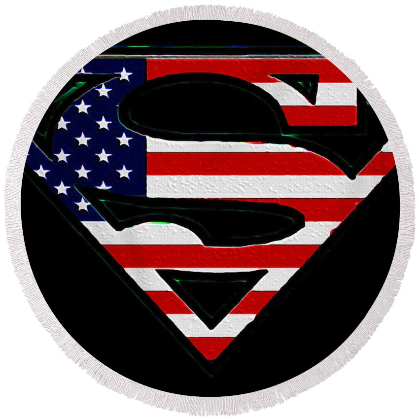 American Flag Superman Shield Round Beach Towel featuring the photograph American Flag Superman Shield by Bill Cannon