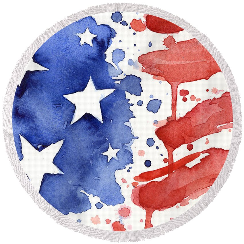 Red Round Beach Towel featuring the painting American Flag Watercolor Painting by Olga Shvartsur