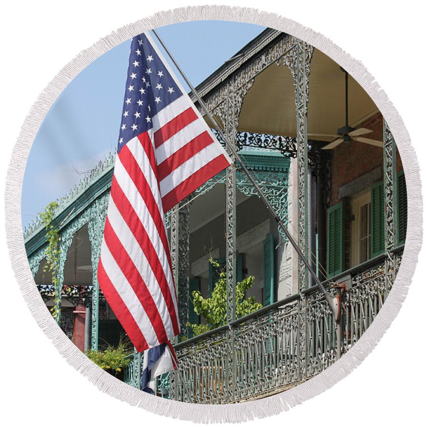 American Flag Round Beach Towel featuring the photograph American French Quarter by Lauri Novak