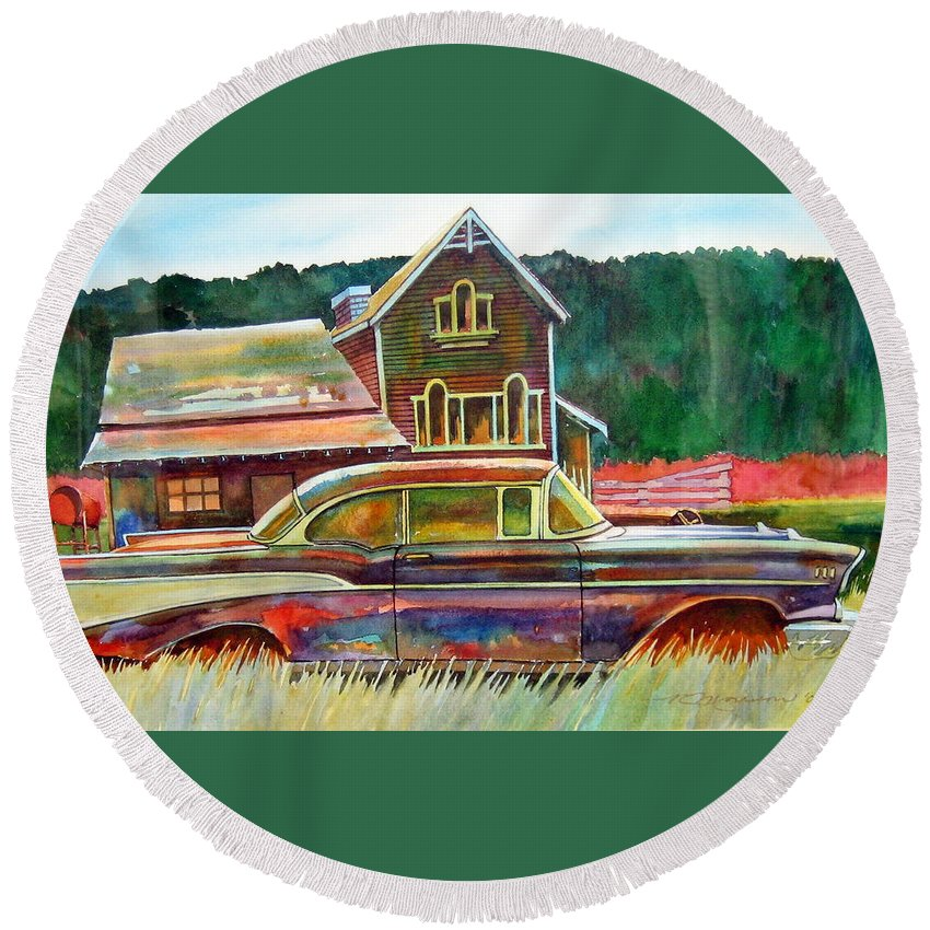 57 Chev Round Beach Towel featuring the painting American Heritage by Ron Morrison