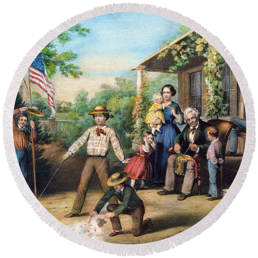 1859 Round Beach Towel featuring the photograph American Independence 1859 by Granger