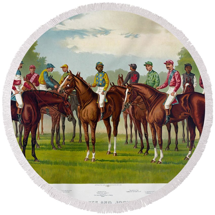 1889 Round Beach Towel featuring the photograph American Jockeys, 1889 by Granger