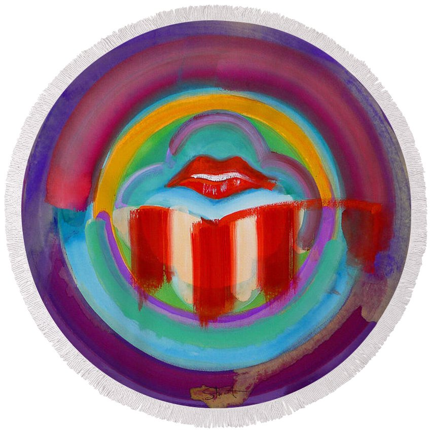 Button Round Beach Towel featuring the painting American Kiss by Charles Stuart
