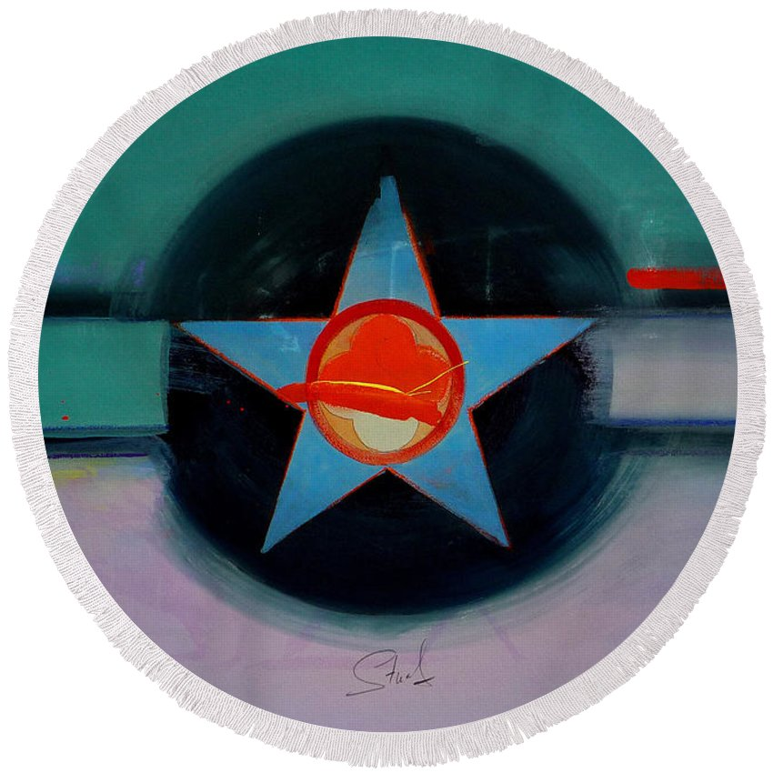 Star Round Beach Towel featuring the painting American Landscape by Charles Stuart