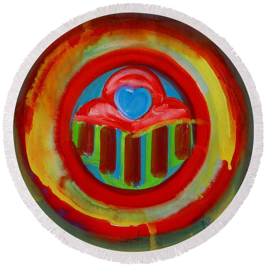 Button Round Beach Towel featuring the painting American Love Button by Charles Stuart