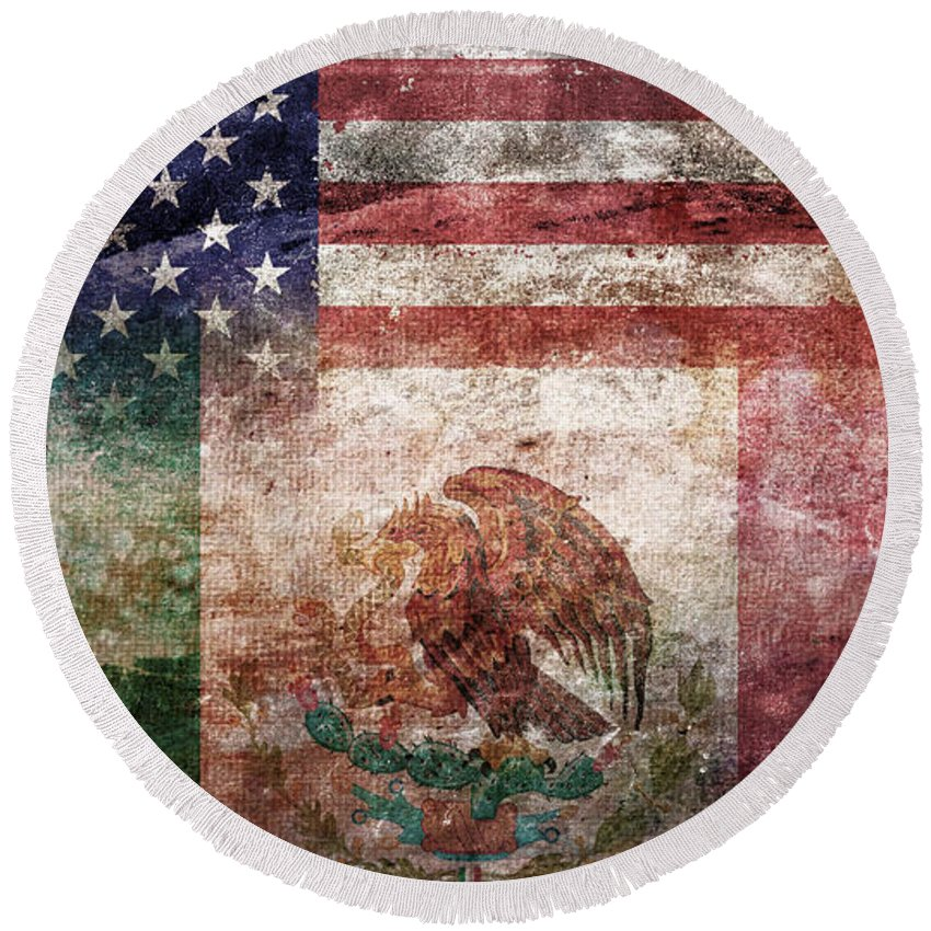 Composite Round Beach Towel featuring the digital art American Mexican Tattered Flag by Az Jackson
