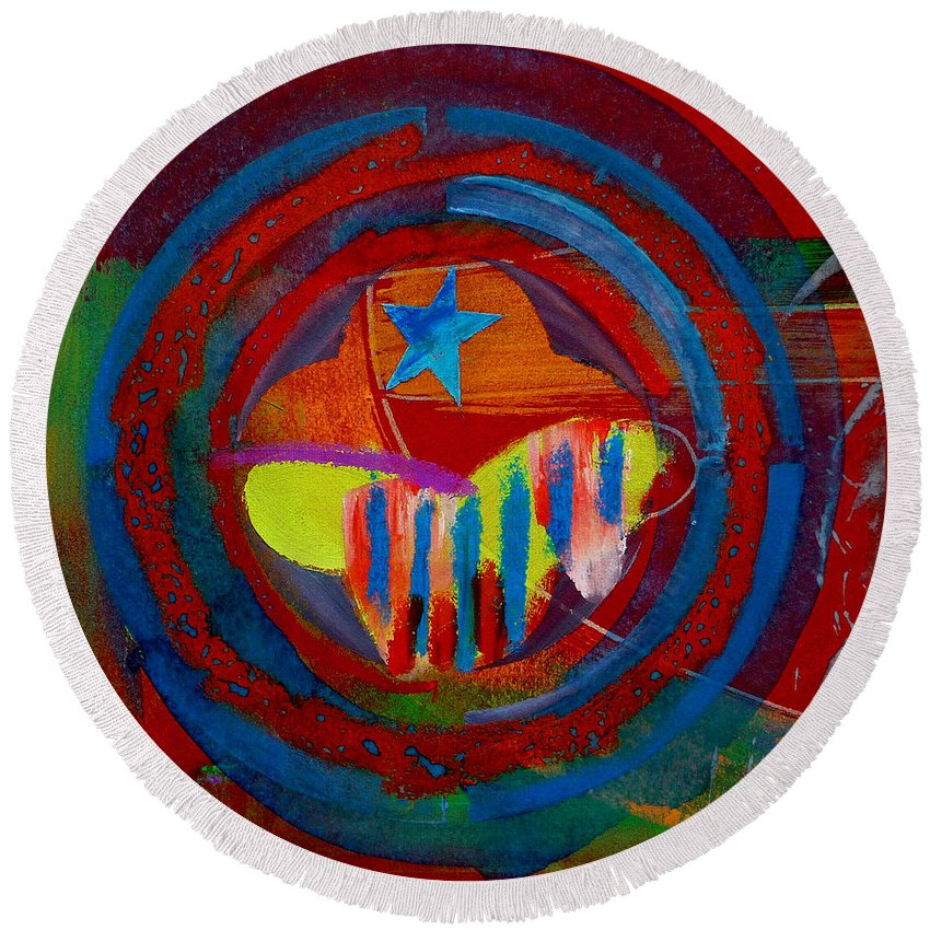 Button Round Beach Towel featuring the painting American Pastoral by Charles Stuart