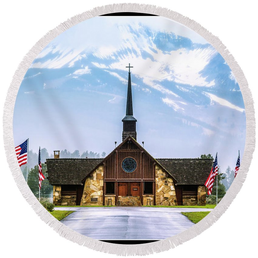 Chapel Round Beach Towel featuring the photograph American Soldiers Chapel by Nancy Forehand