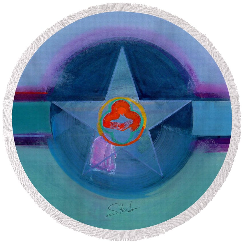 Star Round Beach Towel featuring the painting American Spiritual by Charles Stuart