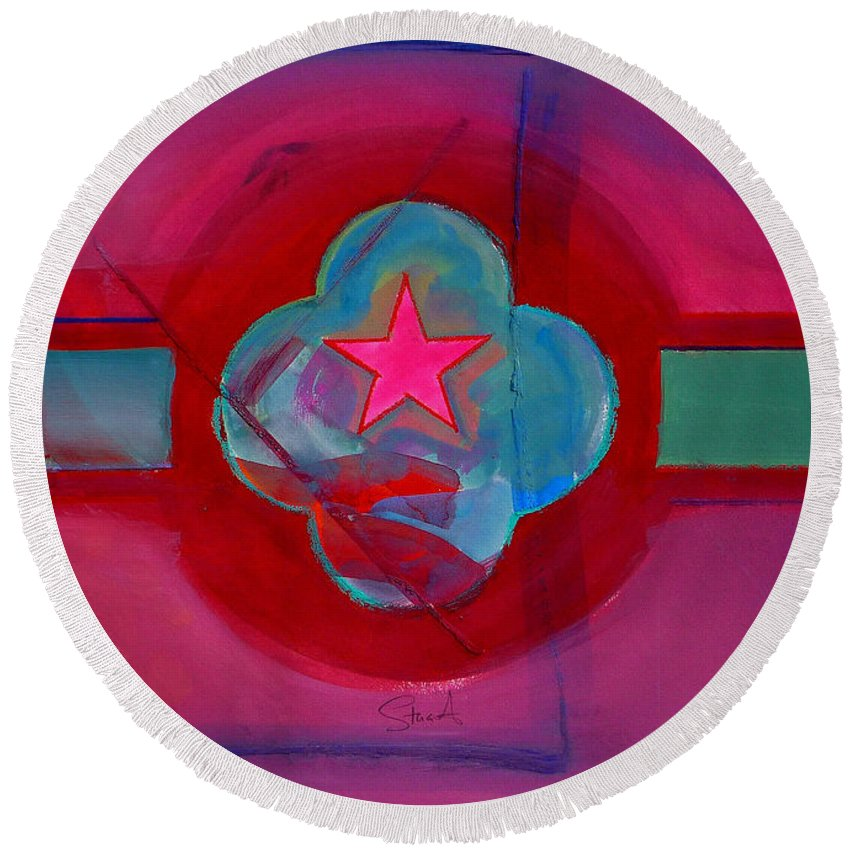 Star Round Beach Towel featuring the painting American Spiritual Decal by Charles Stuart