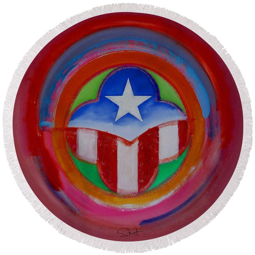 Button Round Beach Towel featuring the painting American Star Button by Charles Stuart
