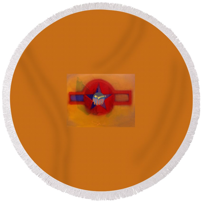 Usaaf Insignia And Idealised Landscape In Union Round Beach Towel featuring the painting American Sub Decal by Charles Stuart