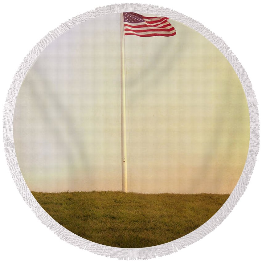 America Round Beach Towel featuring the photograph American The Beautiful by Margie Hurwich