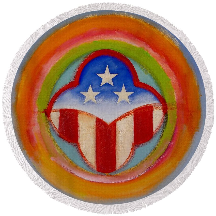 Logo Round Beach Towel featuring the painting American Three Star Landscape by Charles Stuart