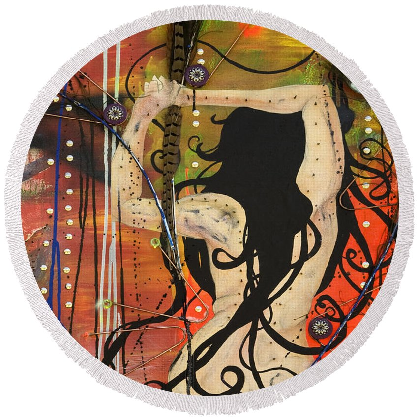 Woman Round Beach Towel featuring the painting American Witch by Sheridan Furrer