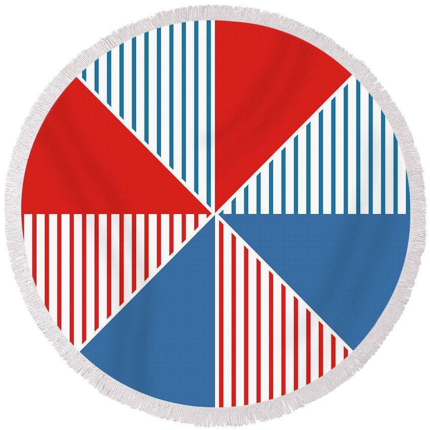 Red Round Beach Towel featuring the digital art Americana Pinwheel by Linda Woods