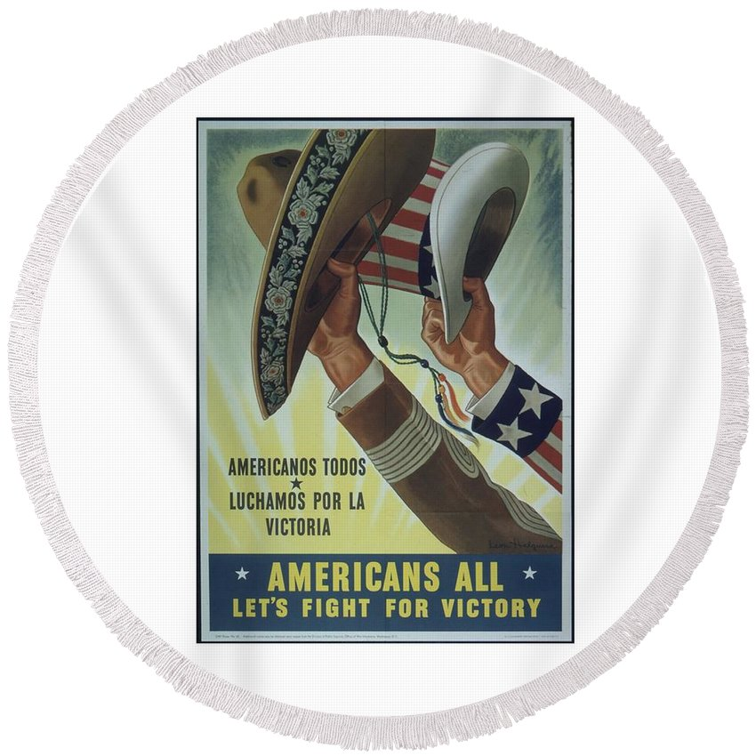 Americans Round Beach Towel featuring the digital art Americans All by Frederick Holiday