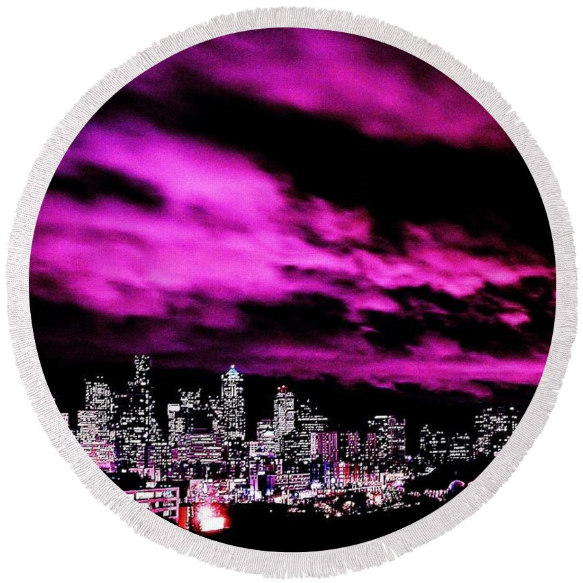 Seattle Round Beach Towel featuring the photograph Amethyst City by Benjamin Yeager