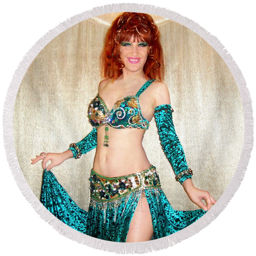 Sofia Metal Queen Round Beach Towel featuring the jewelry Ameynra Belly Dance Fashion. Emerald 09 by Sofia Metal Queen