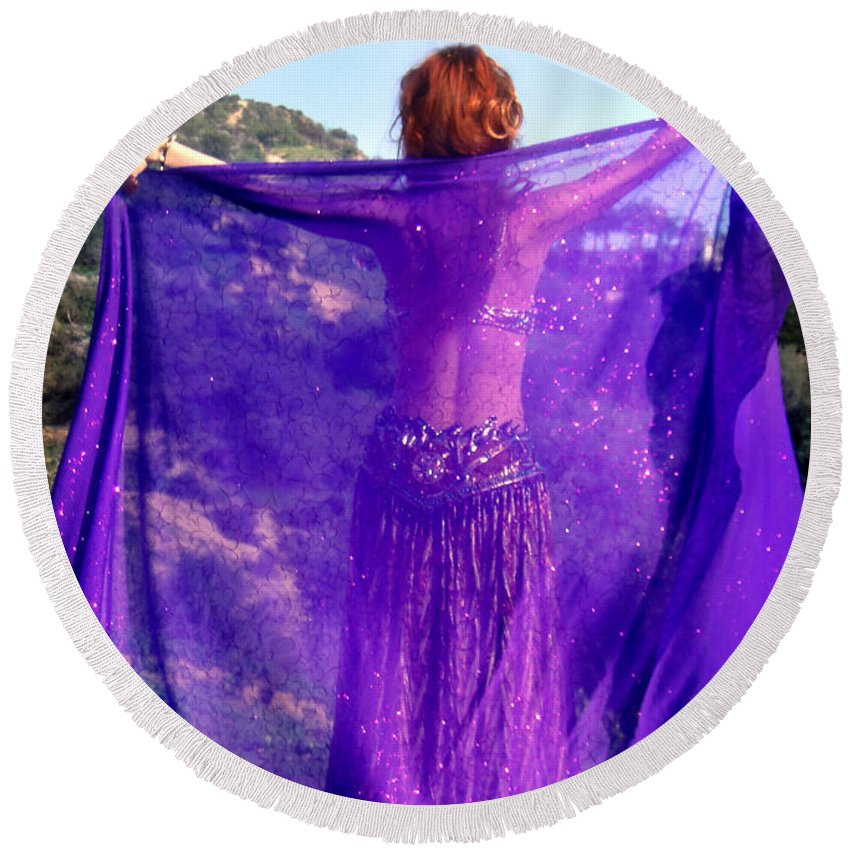 Sofia Round Beach Towel featuring the photograph Ameynra Belly Dance. Purple Veil by Sofia Metal Queen