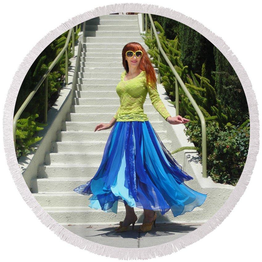 Ameynra Round Beach Towel featuring the photograph Ameynra Fashion. Petal Skirt. Model Sofia by Sofia Metal Queen